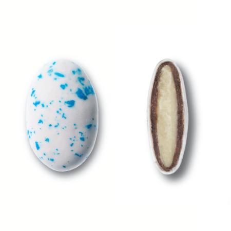 Κουφέτα βότσαλα Deluxe Γάλακτος Καραμάνης με διπλή σοκολάτα και μπλε πιτσιλιές splash για μπομπονιέρες γάμου, βάπτισης, candy bar, ζαχαροπλαστική.